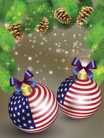 Christmas card decoration from USA baubles and Pine cones