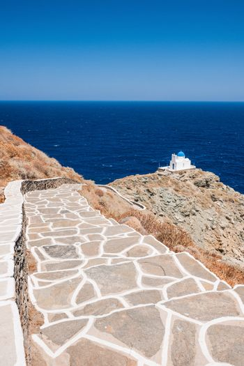 Stairway to the chapel of 7 Martyrs, Sifnos, Greece