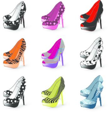 Illustration of fashion high heel woman shoes collection