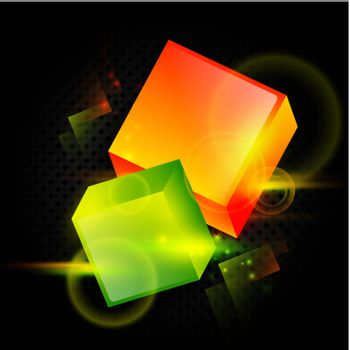 bright abstract background with two cubes over dark background