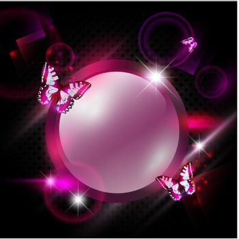 bright Fashoin pink abstract background with round frame and butterflies