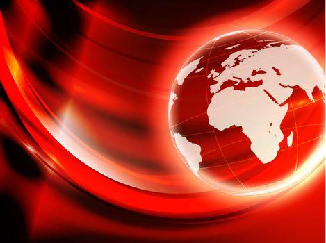 world globe over abstract red and golden background