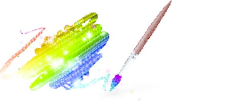 rainbow colours drawing with paintbrush over white