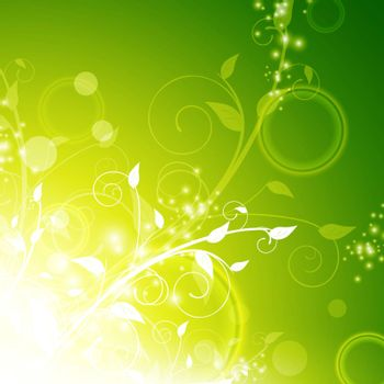 shining green floral background