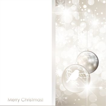 Christmas holiday frame with snowflakes and decorative balls, copy-space