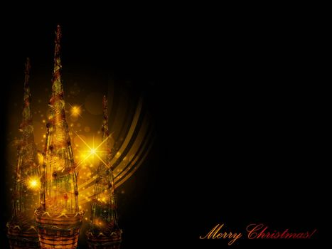 Christmas and New Year background with decorative trees, copypspace