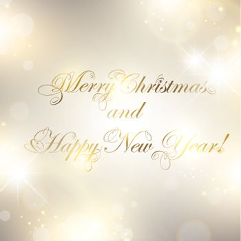 Christmas and New Year greetings over bright background with stars and lights