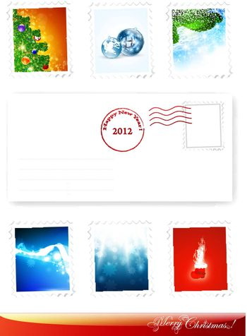 New Year and Christmas poststamps collection with some decorative elements envelope