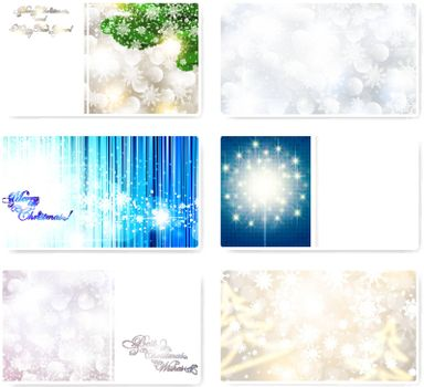 Set of Christmas and New year card templates with snowflakes and copyspace