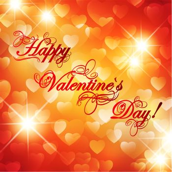 Valentine day background with greetings and stars