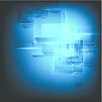 abstract cube tech background with lights