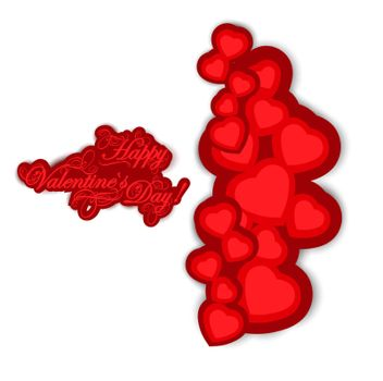 Valentine day greetings and hearts over white
