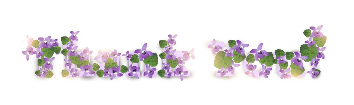 Thank you! Greeting card with violet flowers