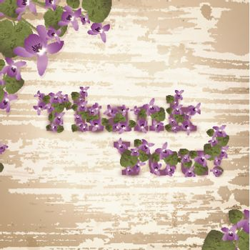Thank you! at natural wooden background with violet flowers