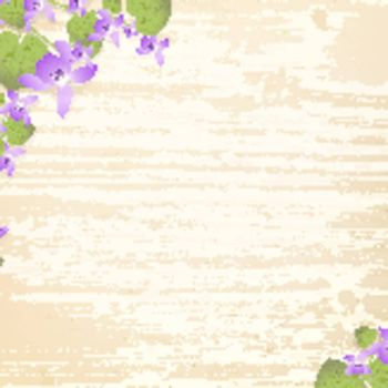 natural wooden background with violet flowers,copyspace