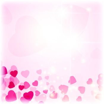 Valentine day background with hearts and stars