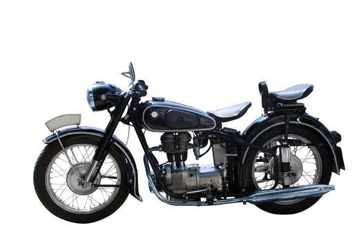 Oldtimer motorcycle isolated on white