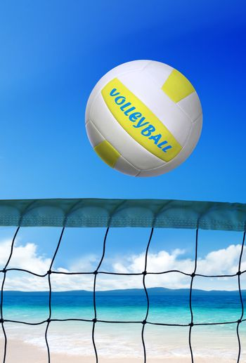 volleyball on beach at sunny day