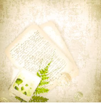 Vintage grunge background with with old nature photo and letter