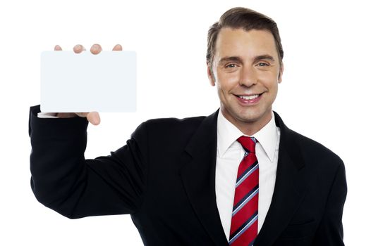 Young business representative holding placard