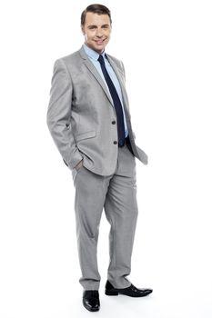 Side pose of casual business representative