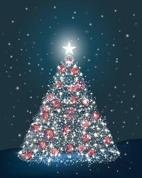 Abstract Christmas tree made of light and USA ball