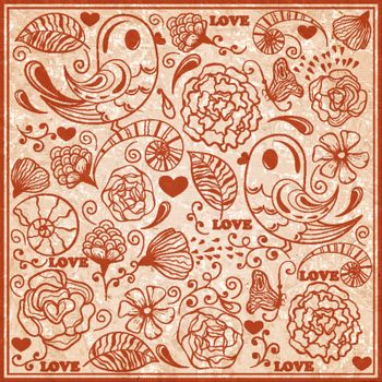 Vector Valentine's day pattern  on crumpled textured paper, fully editable eps 10 file, standart AI font Cooper std