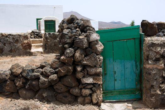 Lanzarote typical rural white house