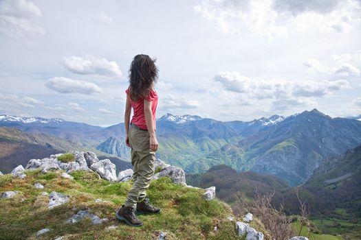 side trekking woman at Picos de Europa