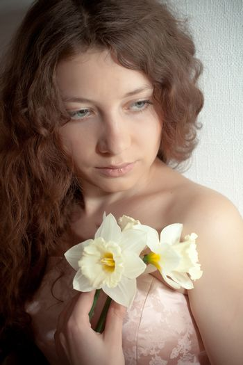 woman with narcissus