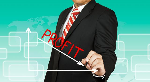 Businessman drawing a graph with Profit going down