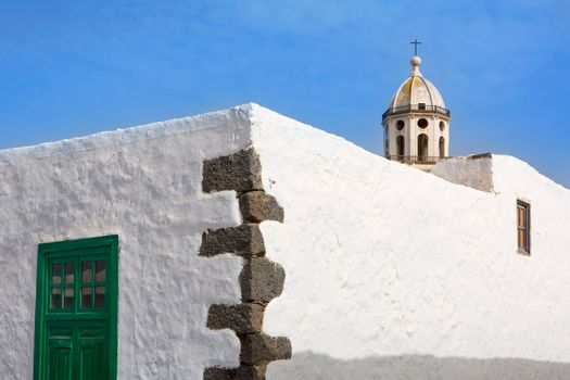 Lanzarote Teguise white village with church tower