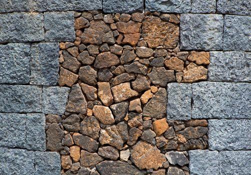 Lanzarote masonry with volcanic stones