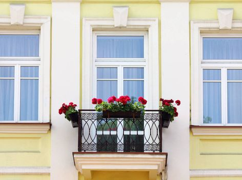 Three house windows and balcony with flowers