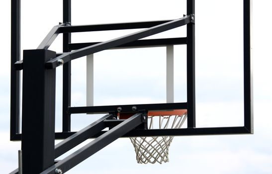 Basketball hoop structure shot from behind