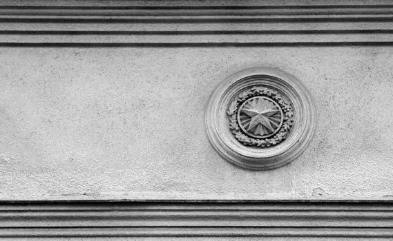 Black and white picture of Soviet times architecture exterior detail with plenty of copy space