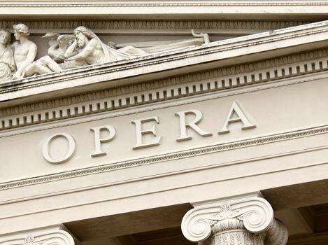 Fragment of the opera house in Riga, Latvia