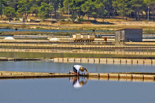 Salt evaporation ponds, production plant in Nin