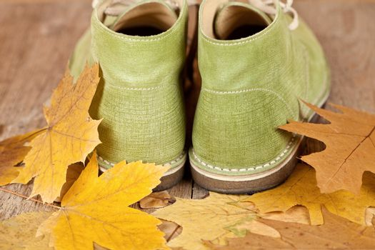 pair of green leather boots