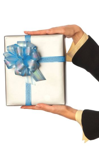 woman giving a silver box with blue bow as a gift