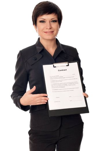 General director showing a contract for her partner