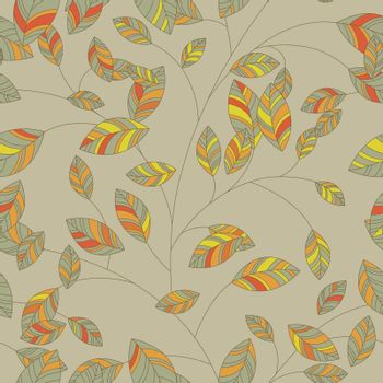 Seamless background leaf for retro design