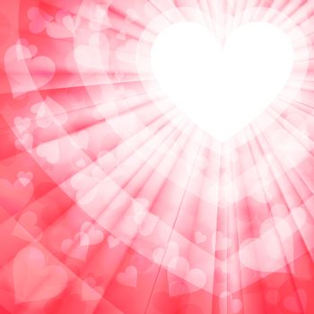 valentine pink with rays of light