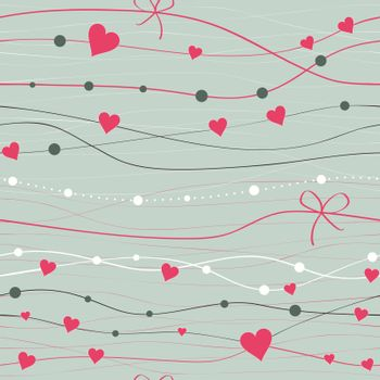 seamless background with hearts and lines