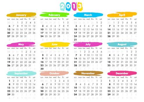 2013 calendar - sundays first