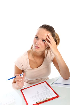 Student writing a test seeks inspiration