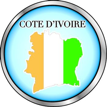 Vector Illustration for Cote D'Ivoire, Round Button.