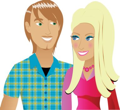 Vector Illustration of a happy couple in love.