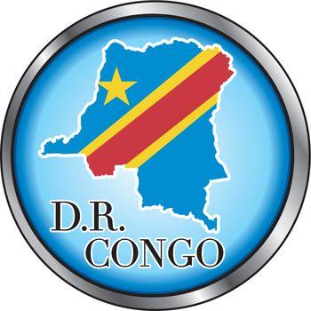 Vector Illustration for Democratic Republic of Congo, Round Button.