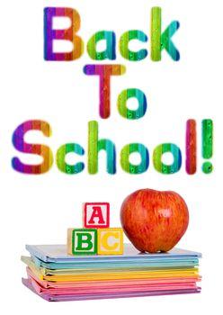 Back to School Written in Rainbow Color Wood Grain Letters